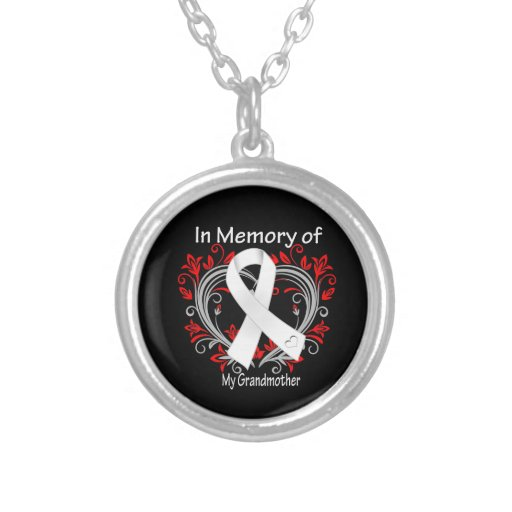 Grandmother - In Memory Lung Cancer Heart Pendant