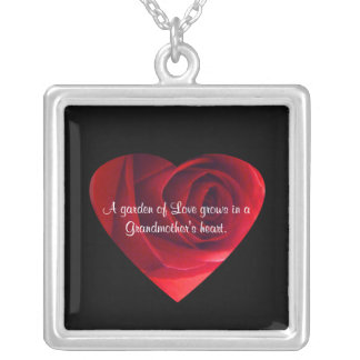 Grandmother Love-Red Rose Heart+Quote Square Pendant Necklace