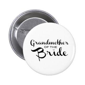 Grandmother of Bride Black on White 6 Cm Round Badge