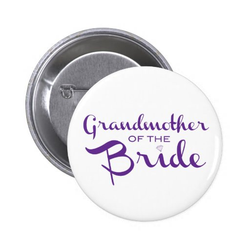 Grandmother of Bride Purple on White Button