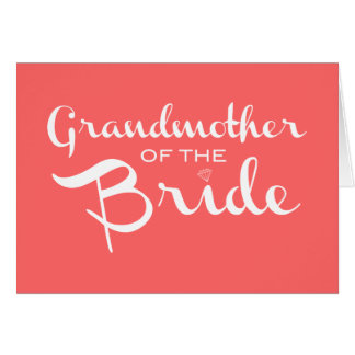Grandmother of Bride White on Peach Card