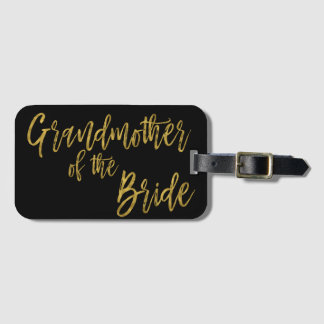 Grandmother of the Bride Gold Foil Luggage Bag Tag