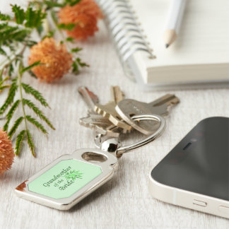 Grandmother of the Bride Green Keychain Silver-Colored Rectangle Key Ring