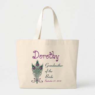 Grandmother of the Bride Peacock Teal Purple Large Tote Bag