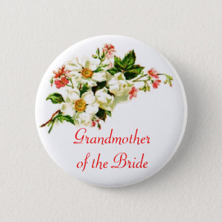 Grandmother of the Bride Spray of Flowers Floral 6 Cm Round Badge