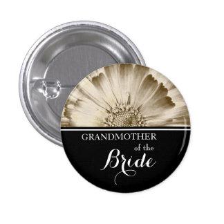 Grandmother of The Bride Wedding Gold Daisy 3 Cm Round Badge