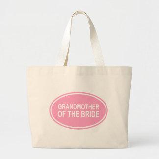 Grandmother of the Bride Wedding Oval Pink Jumbo Tote Bag