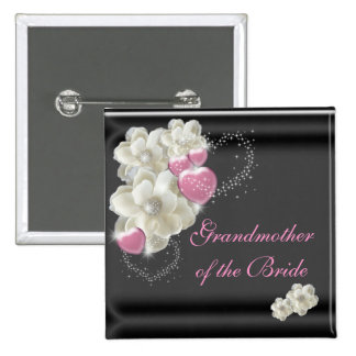 Grandmother of the Bride White,Pink and Black 15 Cm Square Badge