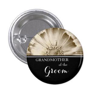 Grandmother of The Groom Wedding Gold Daisy 3 Cm Round Badge