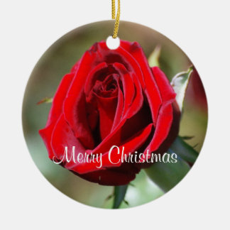 Grandmother Personalized Red Rose Ornament