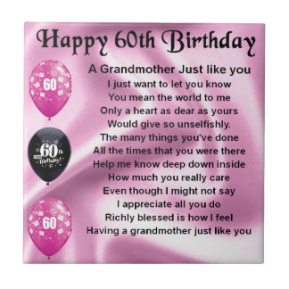 Grandmother Poem - 60th Birthday Small Square Tile