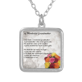 Grandmother Poem - Flowers Silver Plated Necklace