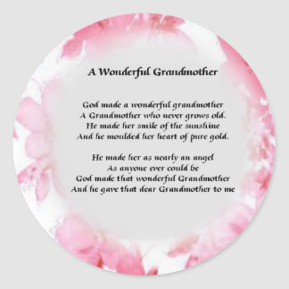 Grandmother Poem - Pink Floral Classic Round Sticker