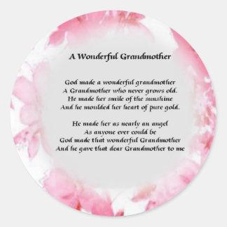 Grandmother Poem - Pink Floral Round Sticker