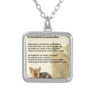 Grandmother Poem - Yorkshire Terrier Silver Plated Necklace