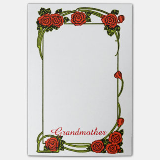 Grandmother - Red Roses Border- Large Post-it® Notes