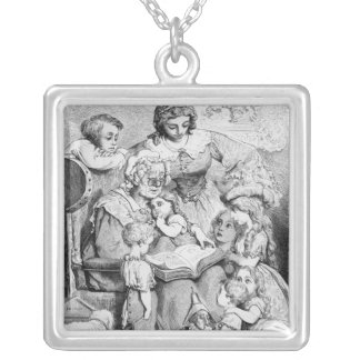 Grandmother telling a story to her silver plated necklace