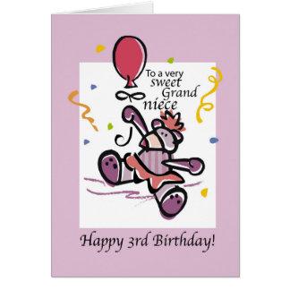 Grandniece 3rd Birthday Bear Balloon, Girl Card