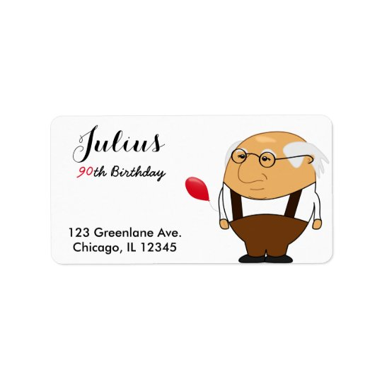 Grandpa 90th Birthday Address Label | Personalise