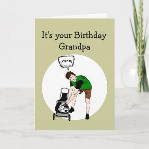 Grandpa Birthday Funny Lawnmower Insult Card