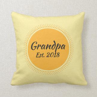 Grandpa Est. 2018 Yellow Sun Graphic Throw Pillow