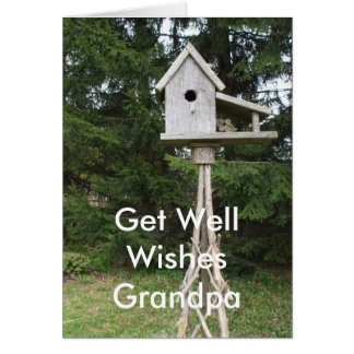 Grandpa Get Well Wishes-tall bird house Card