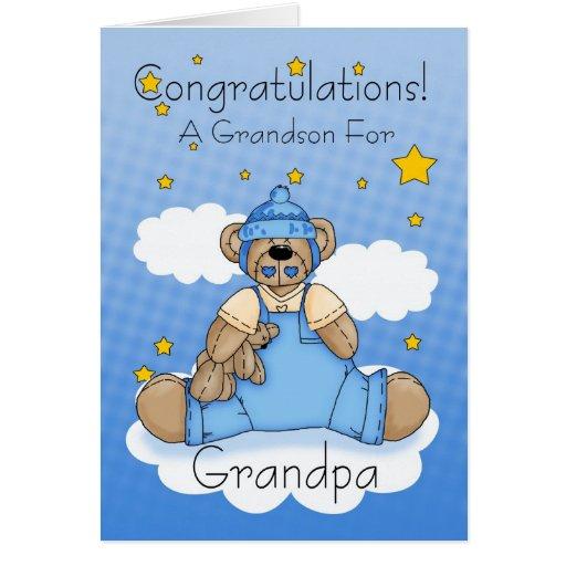 Grandpa New Baby Boy Congratulations Greeting Cards