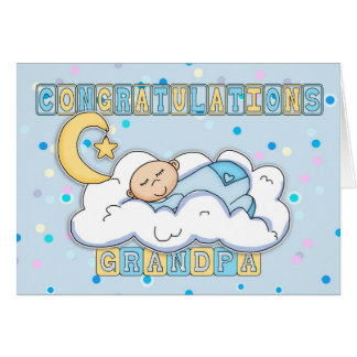 Grandpa New Baby Boy Congratulations Greeting Card