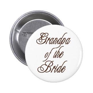 Grandpa of Bride Classy Browns 6 Cm Round Badge