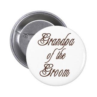 Grandpa of Groom Classy  Browns 6 Cm Round Badge
