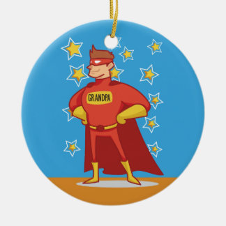 Grandpa Superhero, Grandparents Day Ceramic Ornament