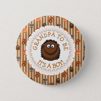 Grandpa To Be Button Woodland Aninmal Theme
