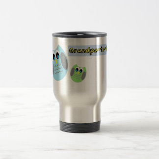 Grandpa-to-be mugs, cute granddad grandbaby owls stainless steel travel mug