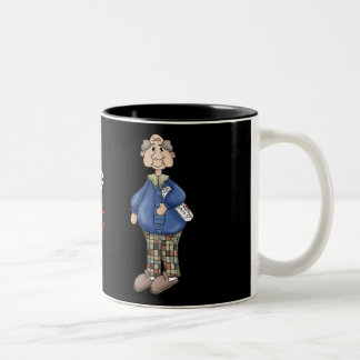 Grandpa with Newspaper Design Two-Tone Coffee Mug