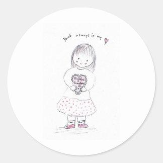 Grandparent Heart Round Sticker