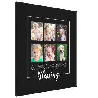 Grandparents Blessings | 6 Photos Christmas Canvas Print
