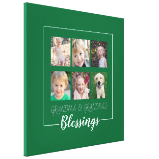 Grandparents Blessings | 6 Photos on Green Canvas Print