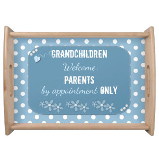 Grandparents Blue polka dots Serving Tray