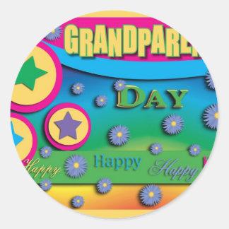 Grandparent's Day, Stars and Blue Flowers Round Sticker