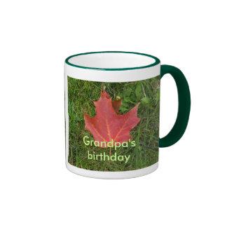 Grandpa's Birthday-red maple leaf Mugs
