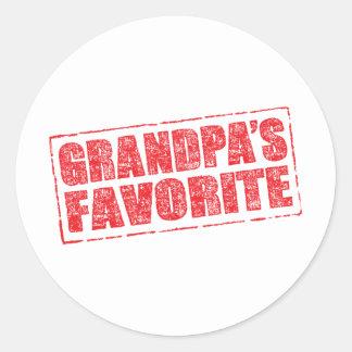 Grandpa's Favorite rubber stamp image Classic Round Sticker