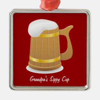 Grandpa's Sippy Cup (customizable) Silver-Colored Square Decoration