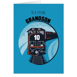 Grandson 10th Birthday Train, Little Boy, Blue Greeting Card