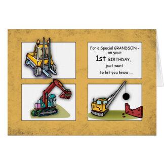 Grandson 1st Birthday Trucks Card