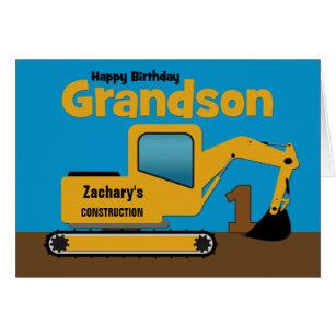 Grandson 1st Birthday Yellow Excavator Add Name