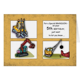 Grandson 5th Birthday, Trucks Card