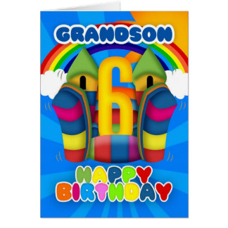 Grandson 6th Birthday Card With Bouncy Castle