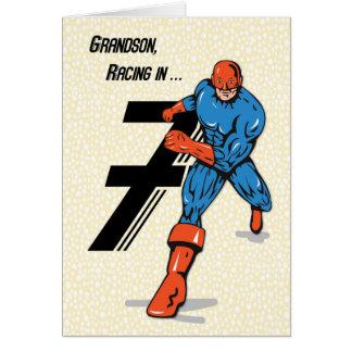 Grandson 7th Birthday Superhero Card