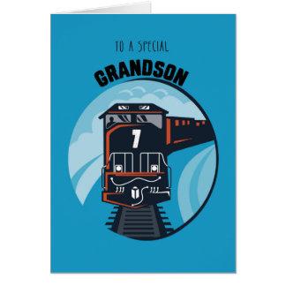 Grandson 7th Birthday Train, Little Boy, Blue Greeting Card