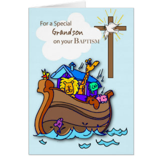 Grandson Baptism Card with Noah's Ark, Blue